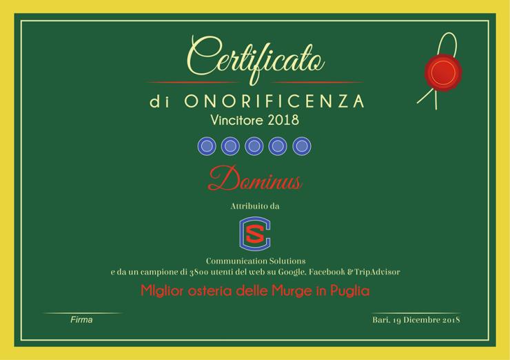 Miglior osteria delle Murge in Puglia 2018
