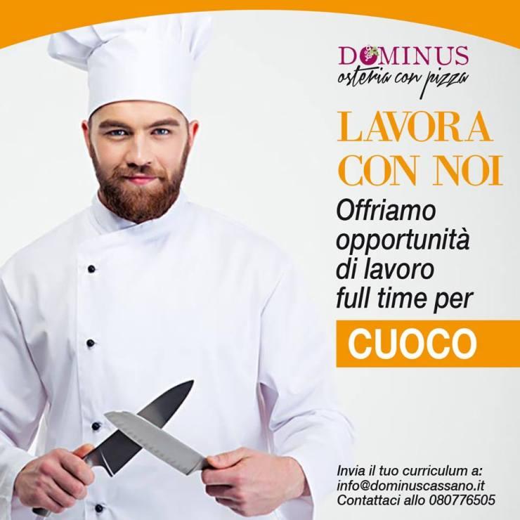Dominus Osteria è alla ricerca di un CUOCO QUALIFICATO
